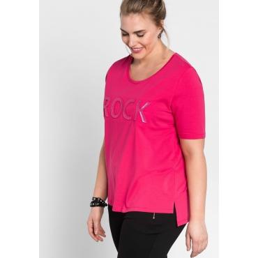 T-Shirt mit 3D-Schriftzug, dunkelpink, Gr.44/46-56/58