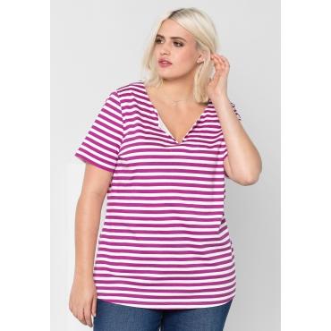 T-Shirt mit Allover-Streifendruck, dunkelfuchsia-weiß, Gr.44/46-56/58