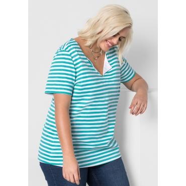 T-Shirt mit Allover-Streifendruck, karibiktürkis-weiß, Gr.44/46-56/58