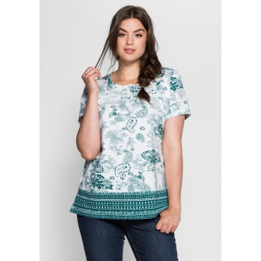 T-Shirt mit Allover- und Bordürendruck, weiß bedruckt, Gr.40/42-56/58