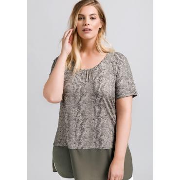 T-Shirt mit Alloverdruck, beigefarben bedruckt, Gr.44/46-56/58
