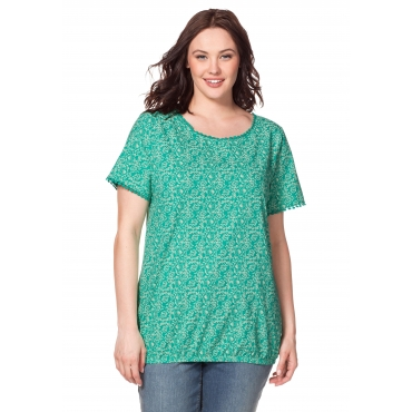 T-Shirt mit Alloverdruck und Häkelspitze, aqua, Gr.40/42-56/58