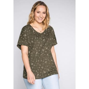 T-Shirt mit Alloverdruck und V-Ausschnitt, dunkelkhaki, Gr.44/46-56/58