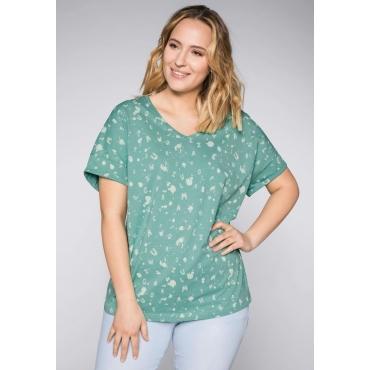 T-Shirt mit Alloverdruck und V-Ausschnitt, jade, Gr.44/46-56/58