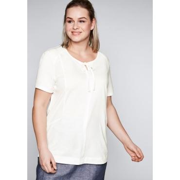 T-Shirt mit Bindeband und Rippeinsätzen, offwhite, Gr.44/46-56/58