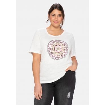 T-Shirt mit Boho-Druck und Stickereien, offwhite, Gr.40/42-56/58