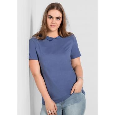 T-Shirt mit Bubikragen, rauchblau, Gr.40/42-56/58