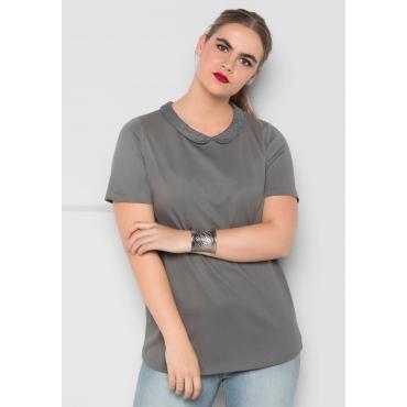 T-Shirt mit Bubikragen, rauchgrau, Gr.40/42-56/58
