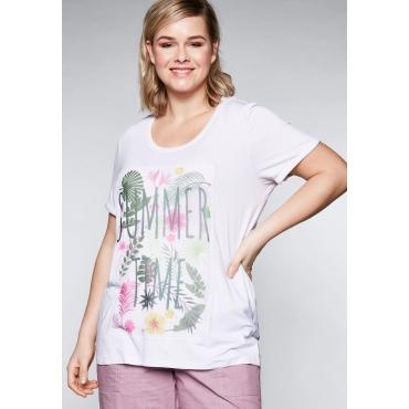 T-Shirt mit Chiffonapplikation, weiß, Gr.44/46-56/58