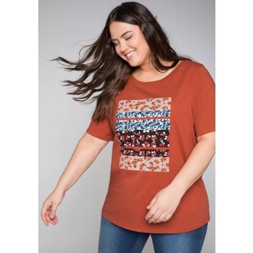 T- Shirt mit floralem Frontdruck, rostrot, Gr.44/46-56/58