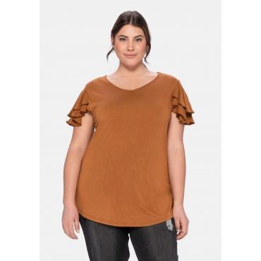 T-Shirt mit Flügelärmelchen, aus Viskosejersey, karamell, Gr.40/42-56/58