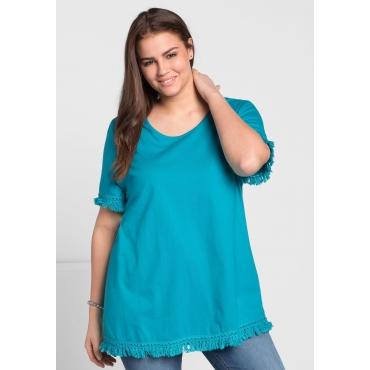 T-Shirt mit Fransen, italienblau, Gr.44/46-56/58