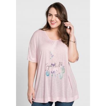 T-Shirt mit Frontdruck, cremerosé, Gr.44/46-56/58