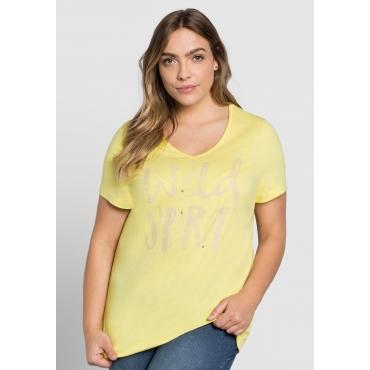 T-Shirt mit Frontdruck, hellgelb, Gr.44/46-56/58