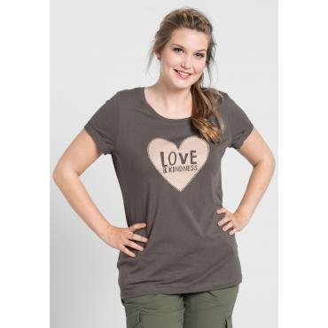 T-Shirt mit Frontdruck in Herzform, dunkelgrau, Gr.40/42-56/58