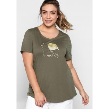 T-Shirt mit Frontdruck, khaki bedruckt, Gr.44/46-56/58