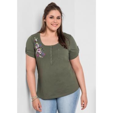 T-Shirt mit Frontdruck, khaki, Gr.40/42-56/58