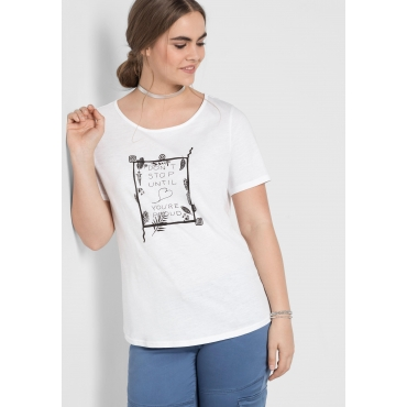 T-Shirt mit Frontdruck und abgerundetem Saum, weiß, Gr.44/46-56/58