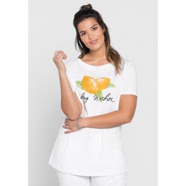 T-Shirt mit Frontdruck und Pailletten, weiß, Gr.40/42-56/58