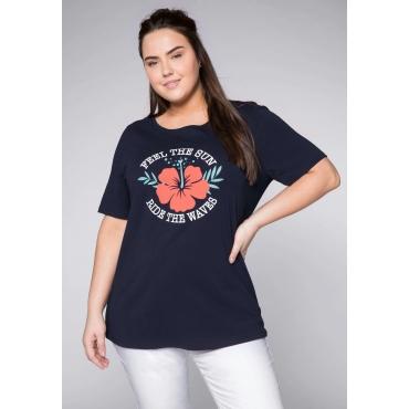 T-Shirt mit Frontdruck und Rundhalsausschnitt, marine, Gr.44/46-56/58