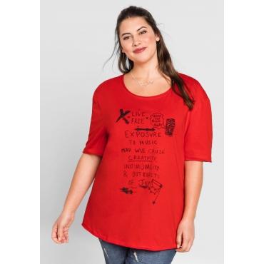 T-Shirt mit Frontdruck und Rundhalsausschnitt, mohnrot, Gr.44/46-56/58