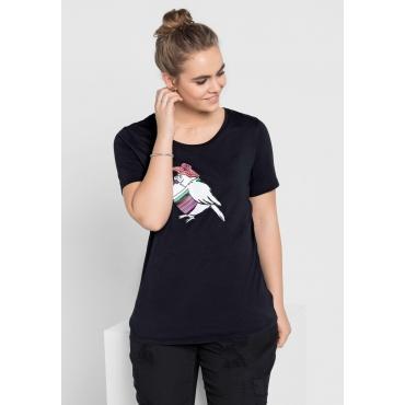 T-Shirt mit Frontdruck und Rundhalsausschnitt, schwarz, Gr.40/42-56/58