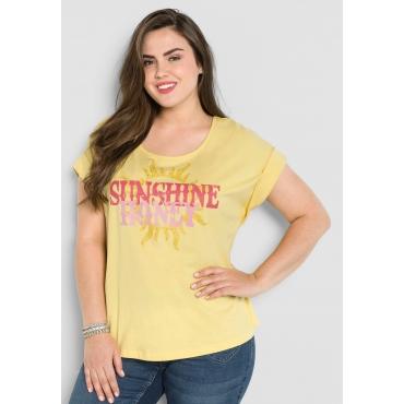 T-Shirt mit Frontdruck und überschnittenen Schultern, hellgelb, Gr.44/46-56/58