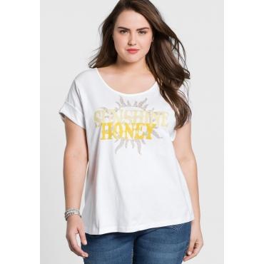 T-Shirt mit Frontdruck und überschnittenen Schultern, weiß, Gr.44/46-56/58