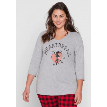 T-Shirt mit Frontdruck und V-Ausschnitt, grau meliert, Gr.44/46-56/58