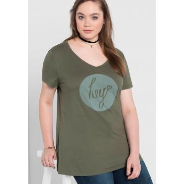 T-Shirt mit Frontdruck und V-Ausschnitt, khaki, Gr.40/42-56/58