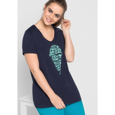 T-Shirt mit Frontdruck und V-Ausschnitt, marine, Gr.40/42-56/58