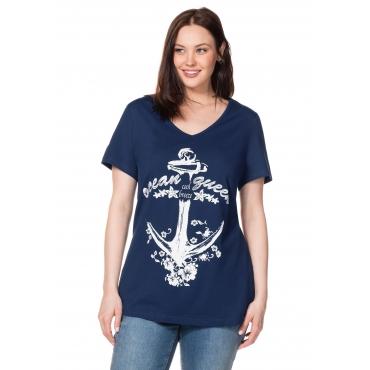 T-Shirt mit Frontdruck und V-Ausschnitt, nachtblau, Gr.40/42-56/58