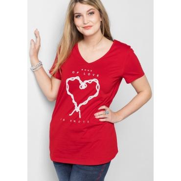 T-Shirt mit Frontdruck und V-Ausschnitt, rot, Gr.40/42-56/58