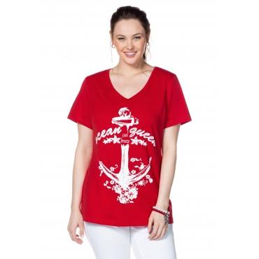 T-Shirt mit Frontdruck und V-Ausschnitt, tomatenrot, Gr.40/42-56/58