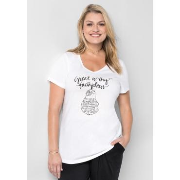 T-Shirt mit Frontdruck und V-Ausschnitt, weiß, Gr.40/42-56/58