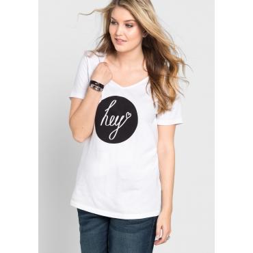 T-Shirt mit Frontdruck und V-Ausschnitt, weiß-schwarz, Gr.40/42-56/58