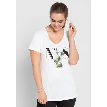 T-Shirt mit Frontdruck, weiß, Gr.40/42-56/58