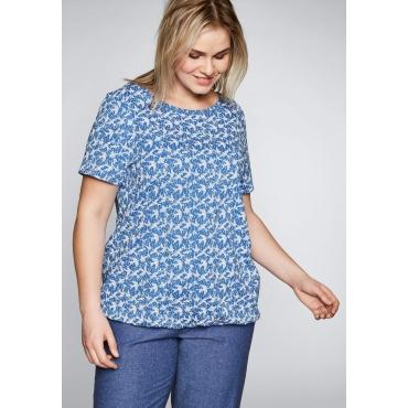 T-Shirt mit Gummizugbund und Rundhalsausschnitt, azurblau, Gr.44/46-56/58