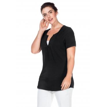 T-Shirt mit Häkelspitzenbesatz, schwarz, Gr.40/42-56/58