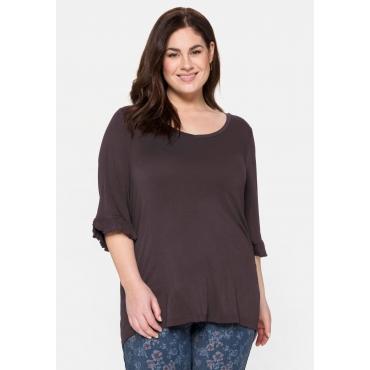 T-Shirt mit Herzausschnitt und Volant am 3/4-Arm, burgund, Gr.40/42-56/58