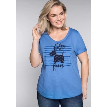 T-Shirt mit Hundemotiv vorn und V-Ausschnitt, azurblau, Gr.44/46-56/58