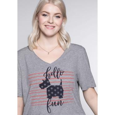T-Shirt mit Hundemotiv vorn und V-Ausschnitt, grau meliert, Gr.44/46-56/58