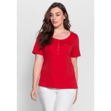 T-Shirt mit Knopfleiste und Krempelärmeln, rot, Gr.40/42-56/58