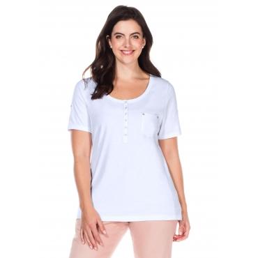 T-Shirt mit Knopfleiste und Krempelärmeln, weiß, Gr.40/42-56/58