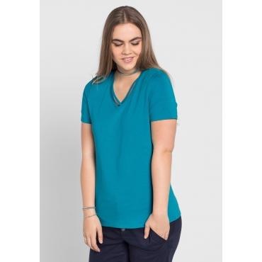 T-Shirt mit leicht gerundetem Saum, italienblau, Gr.40/42-56/58