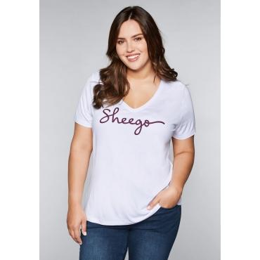 T-Shirt mit Logo-Aufdruck und V-Ausschnitt, weiß, Gr.44/46-56/58