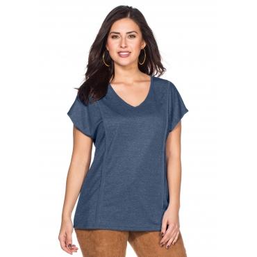 T-Shirt mit Paspelierung, rauchblau meliert, Gr.40/42-56/58