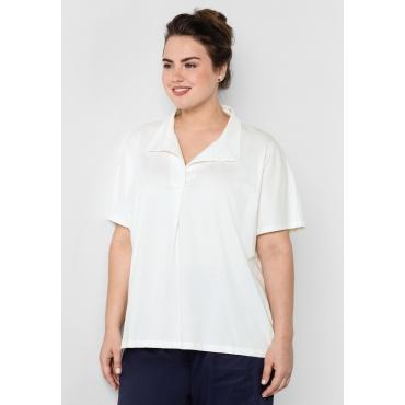 T-Shirt mit Polo-Kragen, weiß, Gr.44/46-56/58