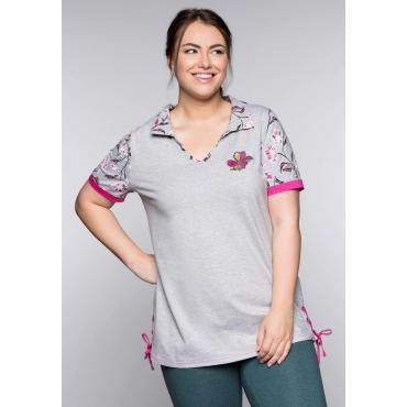 T-Shirt mit Polokragen und Blumenstickerei, grau meliert, Gr.44/46-56/58