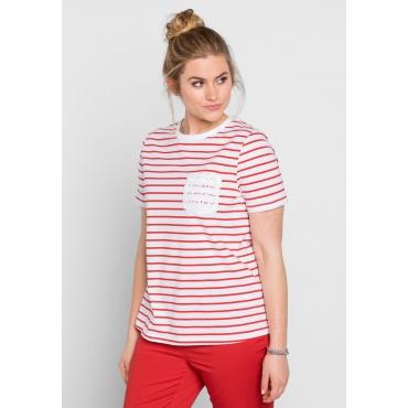 T-Shirt mit Ringelmuster und Spitzenbrusttasche, erdbeerrot, Gr.40/42-56/58